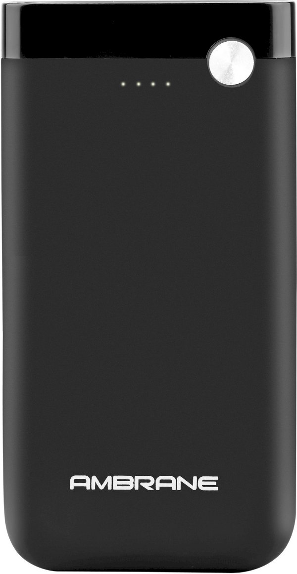 Ambrane 10000 mAh Power Bank Fast Charging, 10 W Black, Lithium Polymer