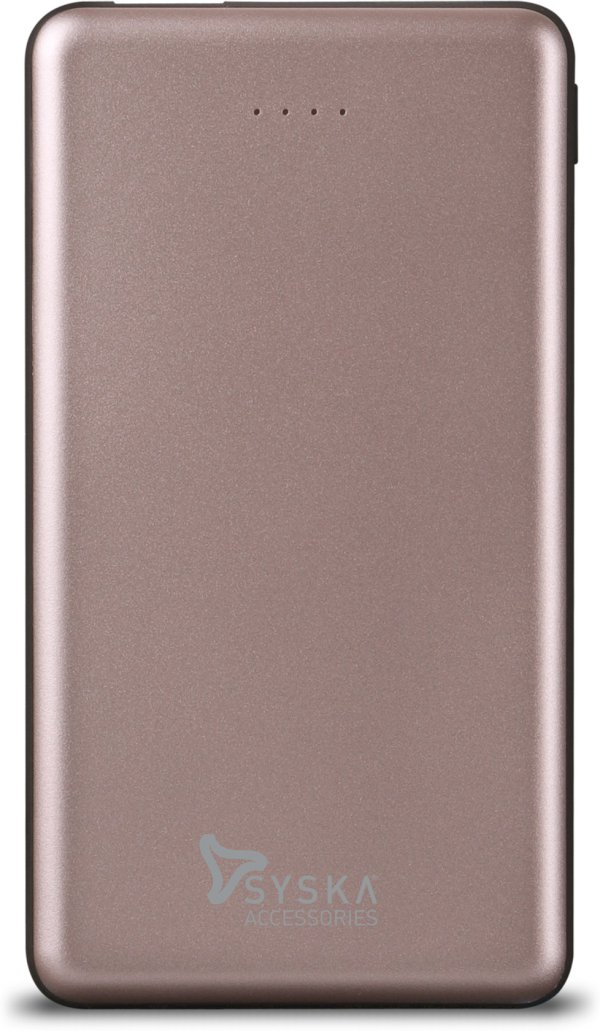 Syska 10000 mAh Power Bank Fast Charging, 12 W RoseGold, Lithium Polymer