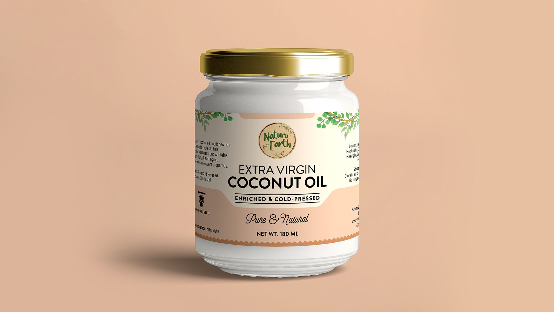 Organic Cold Pressed Extra Virgin Coconut Oil 180Ml